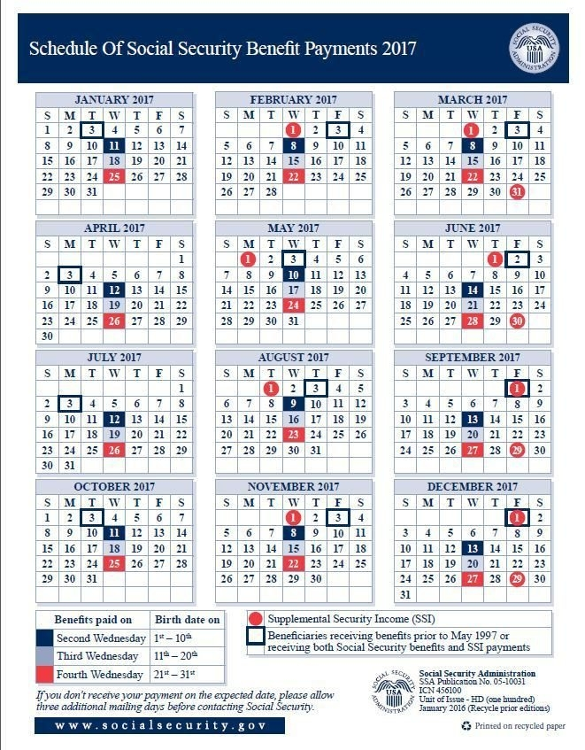 Payment-Schedule-2017-Smaller (661×847) | Social in Disability Benefits Payment Schedule Photo