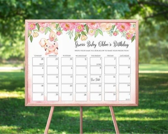 Pig Floral Baby Due Date Prediction Calendar, Guess Baby'S with Baby Prediction Calendar Template