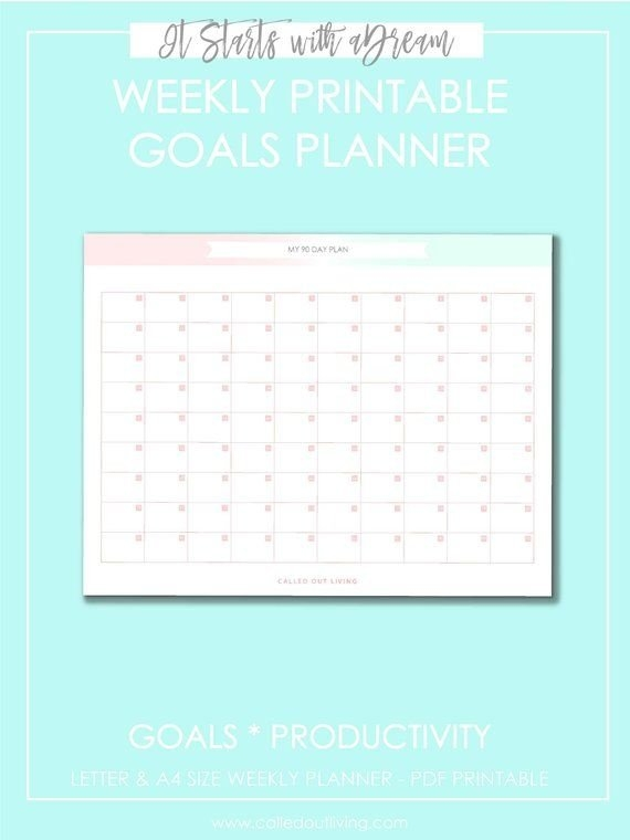 Pin On It Starts With The Dream- Goals Printables Planner regarding Print A 90 Day Calandar Graphics