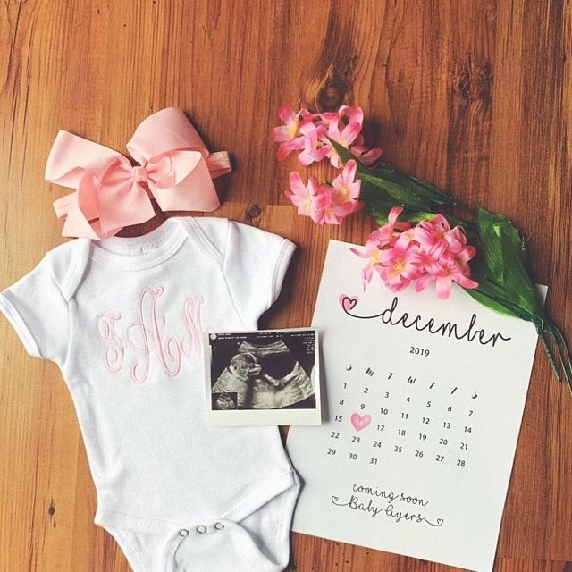 Pin On // Pregnancy Announcement | Pregnancy Reveal | Due with Baby Girl Due Date Calendar E Printable Photo