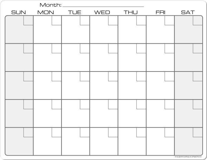 Plain Monthly Calendar Printable   Blank Calendar Pages inside Empty Calendar Grid 8.5 X 11 Photo