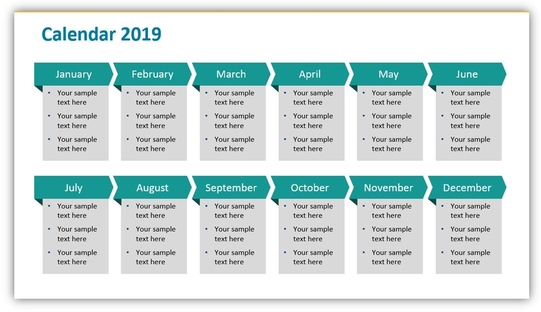 Plan Your 2019 Year Projects Using Monthly Or Quarterly Ppt throughout Hr Calendar Sample