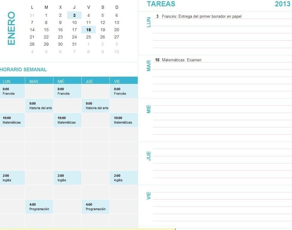Planilla De Excel Calendario Con Agenda | Plantilla within Agenda Calendario En Excel Gratis
