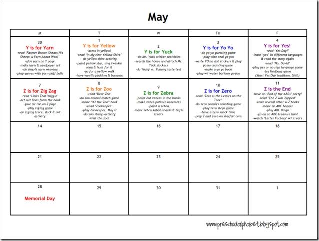Preschool Alphabet: Preschool Plan For May   Preschool inside Free Preschool Calendar Sarah Kirby Graphics
