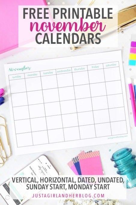 Pretty (And Free!) November Printable Calendars regarding Baby Girl Due Date Calendar E Printable Photo