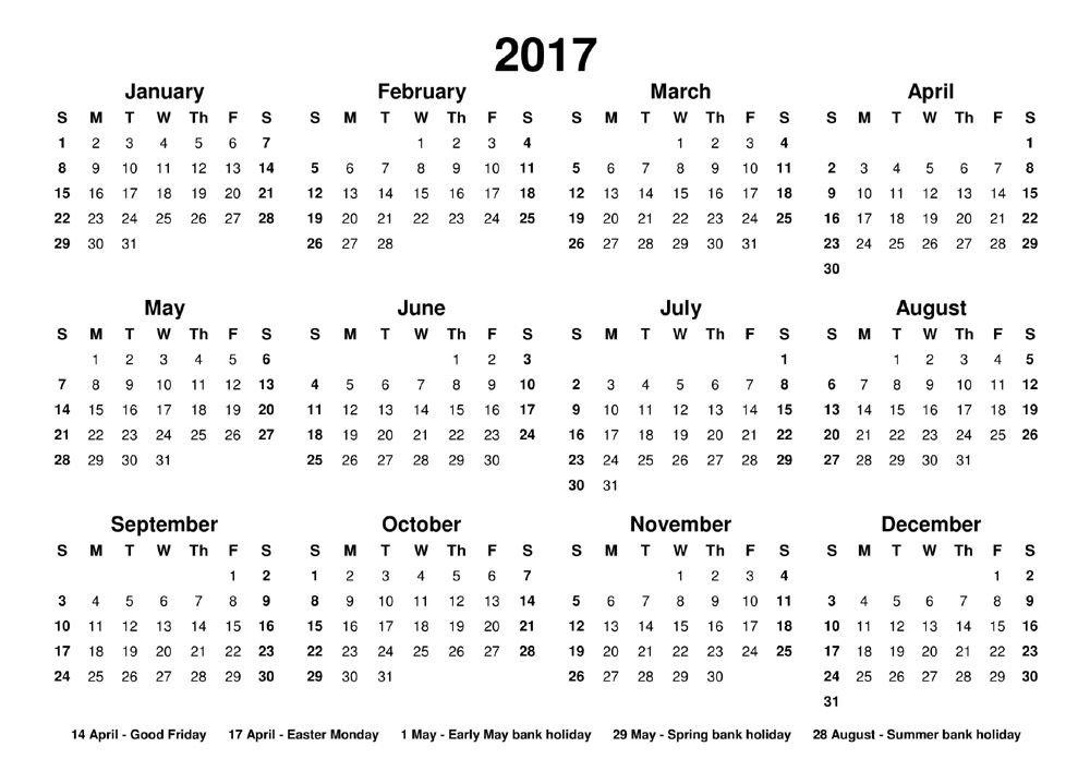 Printable 2017 Calendar Free From Janus Calendars. Designed throughout The No-Frills Free Calendar