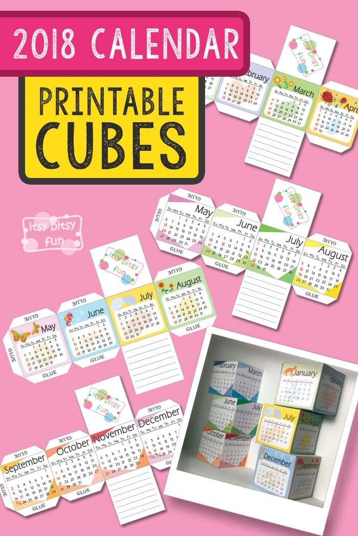 Printable 2018 Calendar Paper Cubes - Itsybitsyfun pertaining to Itbsy Bitsy Fun Calendars Photo