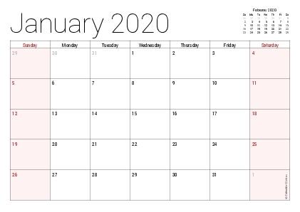 Printable 2020 Calendars (Pdf) - Calendar-12 in The No-Frills Free Calendar