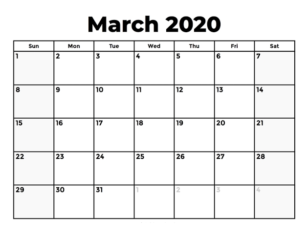 Printable 2020 March Calendar Template | 12 Month Printable with Understated Printable Calendars Image
