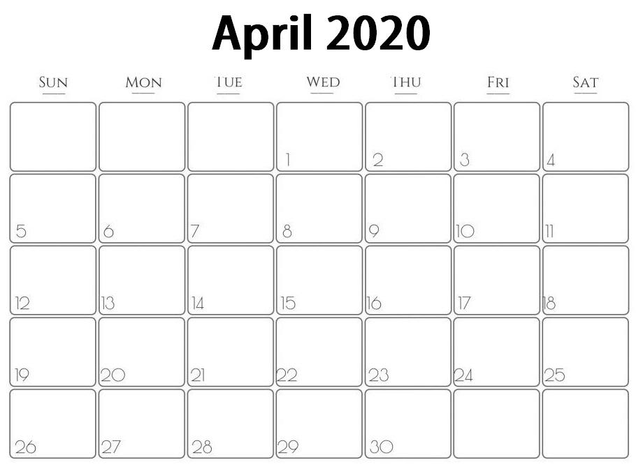 Printable April 2020 Calendar – Waterproof Paper | Printable in Printable Calendars By Waterproofpaper.com Graphics