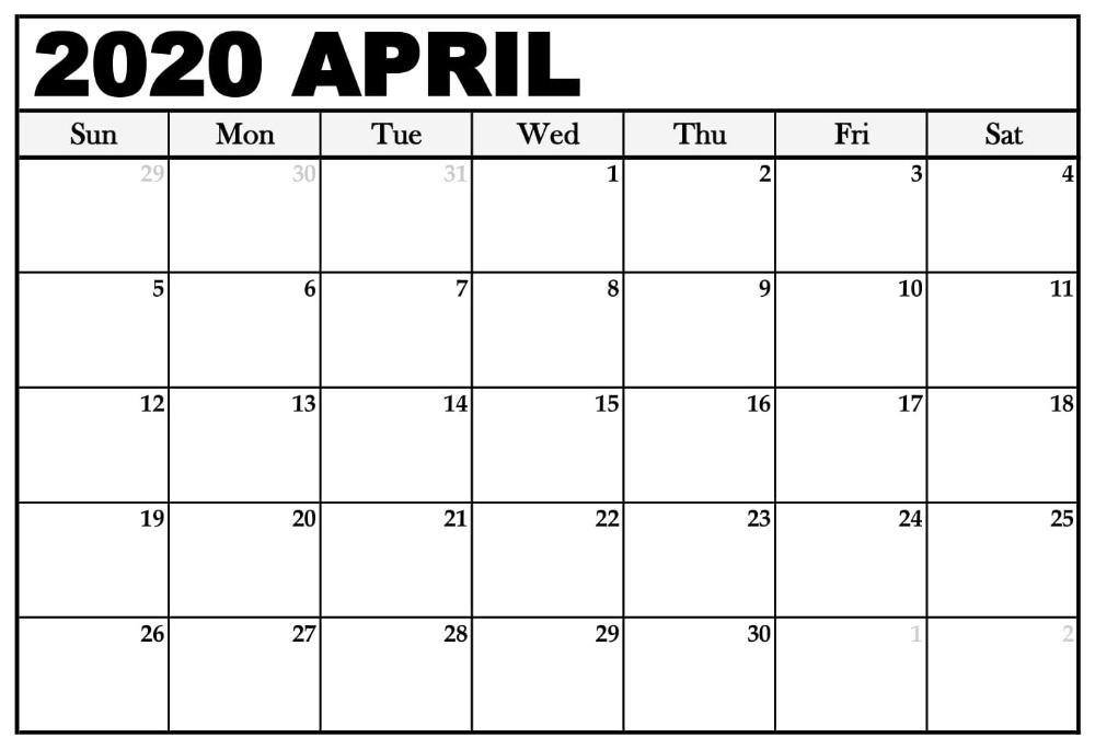 Printable April 2020 Calendar – Waterproof Paper | Printable in Printable Calendars By Waterproofpaper.com