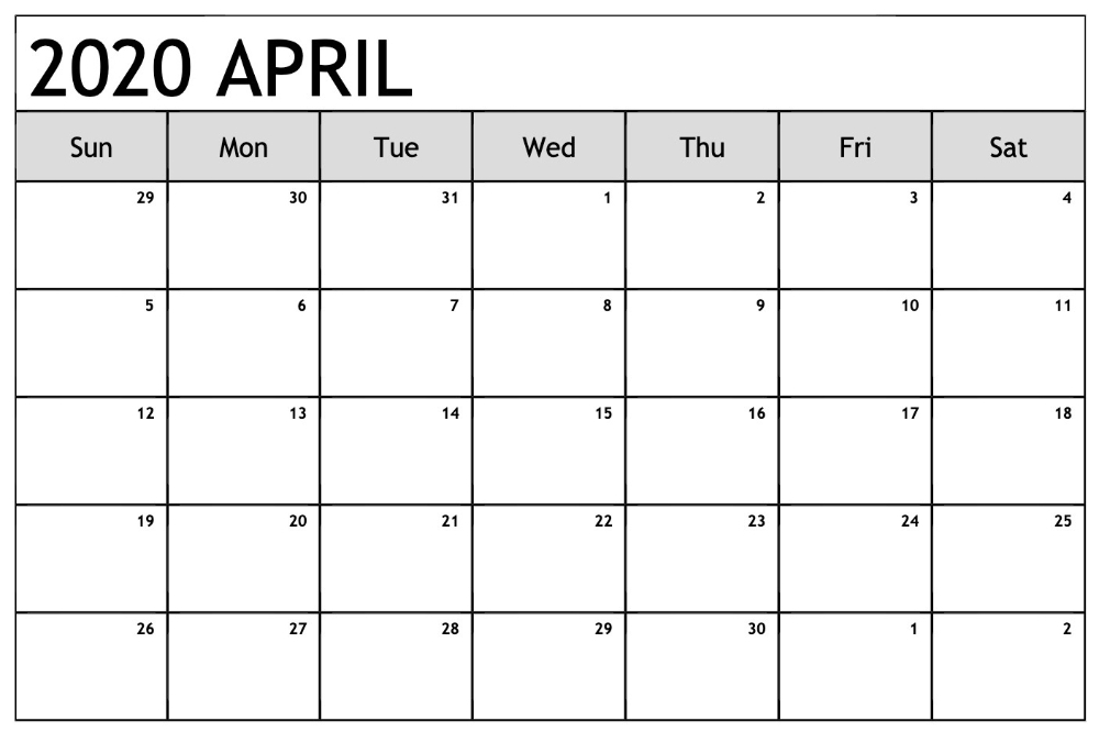 Printable April 2020 Calendar – Waterproof Paper | Printable intended for Waterproofpaper.com Free Printable Calendar