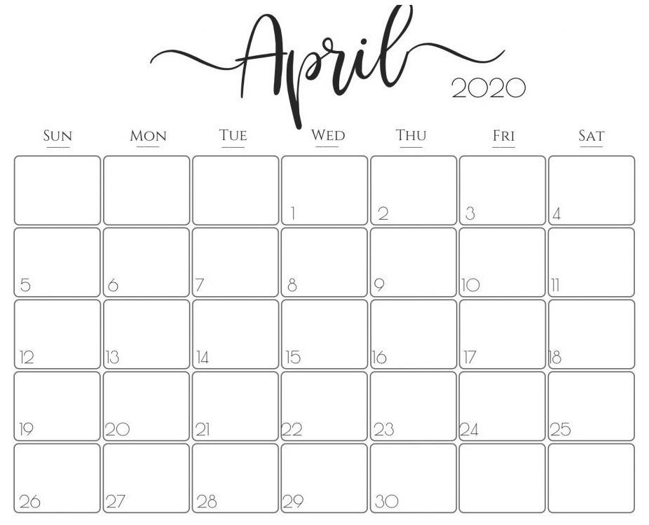 Printable April 2020 Calendar – Waterproof Paper | Printable pertaining to Waterproofpaper.com Free Printable Calendar Image