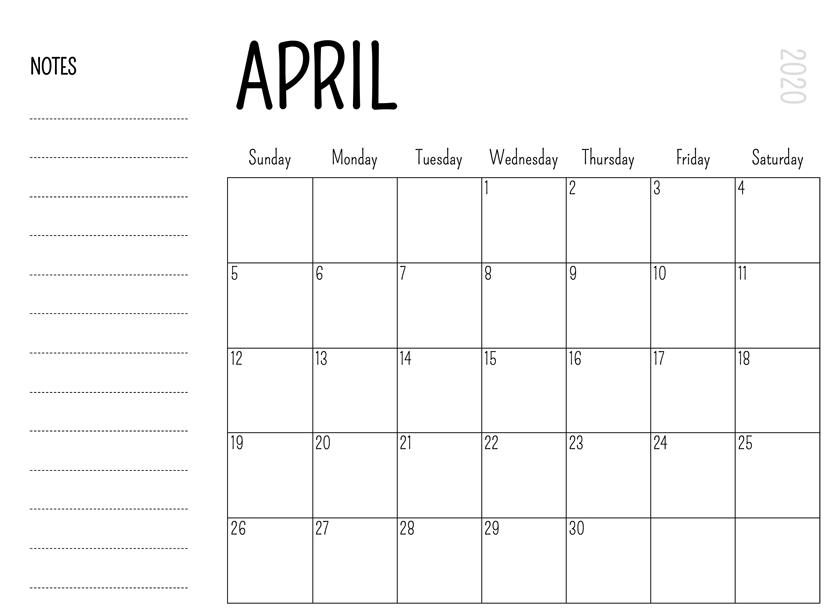 Printable April 2020 Calendar – Waterproof Paper | Printable pertaining to Waterproofpaper.com Free Printable Calendar