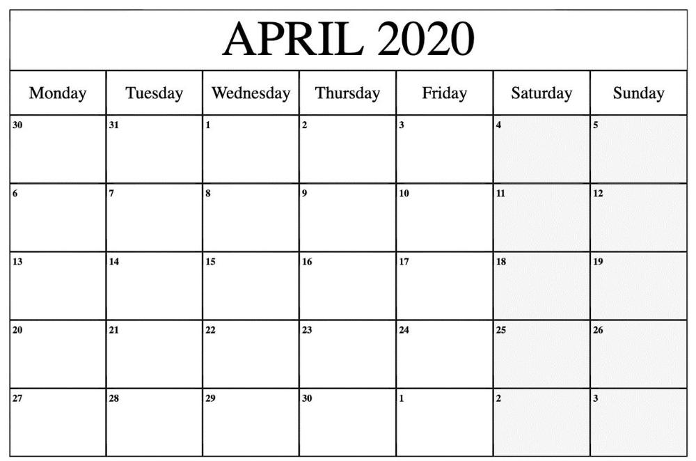 Printable April 2020 Calendar – Waterproof Paper | Printable with Printable Calendars By Waterproofpaper.com