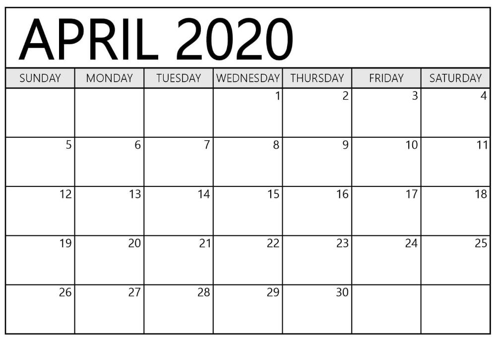 Printable April 2020 Calendar – Waterproof Paper | Printable with regard to Waterproofpaper.com Free Printable Calendar Image
