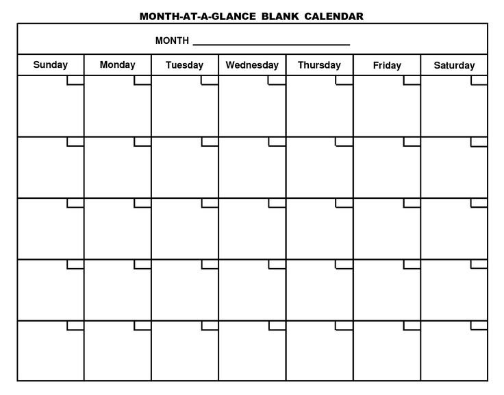 Printable Blank Monthly Calendar | Monthly Calendar within Write In Calaendars Graphics