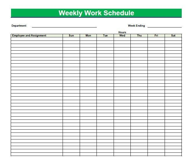 Printable Blank Pdf Weekly Schedules | Blank Pdf Weekly with Printable Calendar For Employees Time