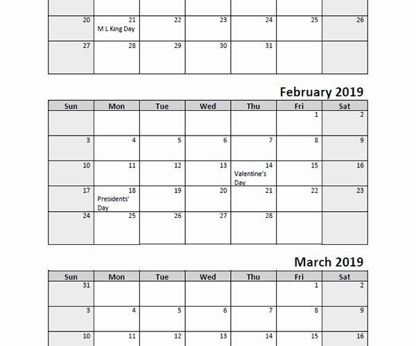 Printable Calendar 3 Month 2020 | Printable Calendar with Three Month Calendar For Word Photo