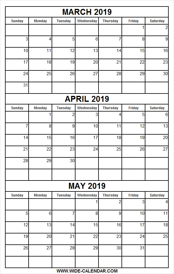 Printable Calendar March April May 2019 | Calendar March within 3 Month Calendar