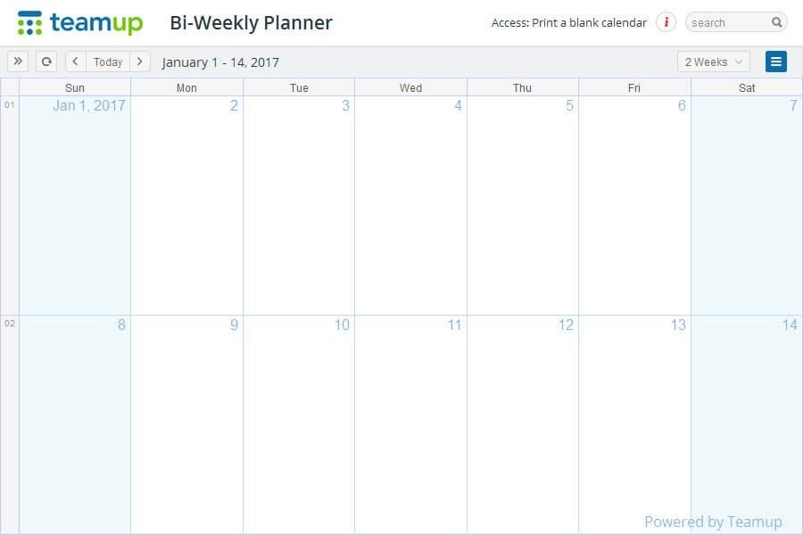Printable Calendars - Teamup Calendar - Shared Online intended for Bimonthly Calendar Free Print