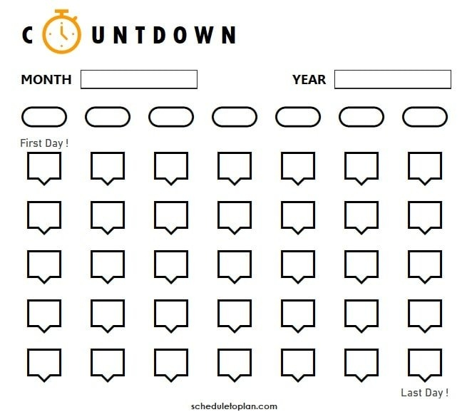 Printable Countdown Calendar Template | Birthday, Pregnancy inside Vacation Countdown Calendar Printable Graphics