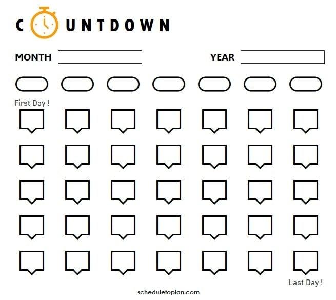 Printable Countdown Calendar Template | Birthday, Pregnancy intended for Fun Free Printable Shorttime Calendars