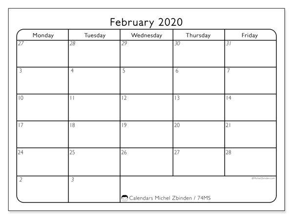 "Printable February 2020 ""74Ms"" Calendar - Michel Zbinden En inside Monthly Calendar Weekdays Only"