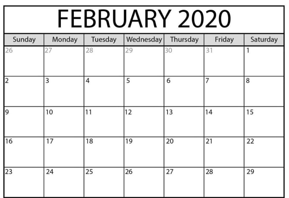 Printable February 2020 Calendar Pdf Wallpaper   Free with 2020 February Calendar Printable Free Pdf Image
