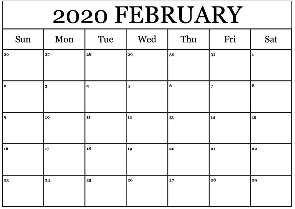 Printable February Calendar For 2020 – Waterproof Paper | 12 inside Waterproofpaper.com Free Printable Calendar Image