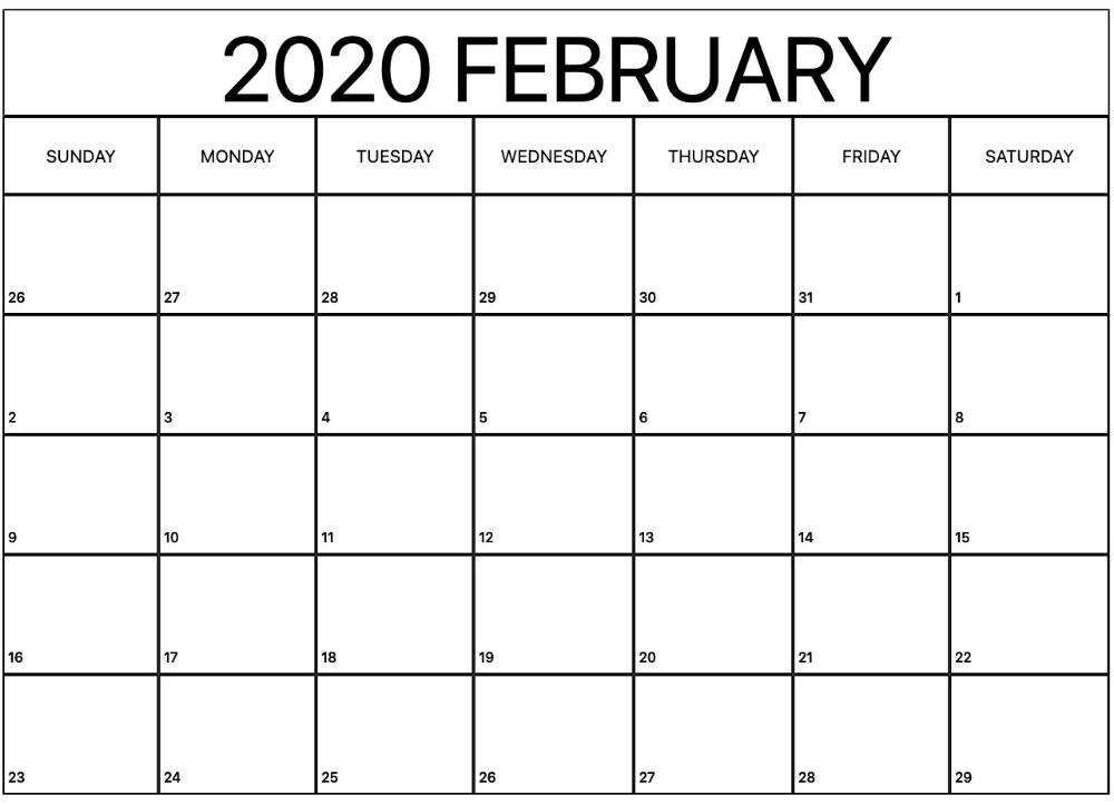 Printable February Calendar For 2020 – Waterproof Paper | 12 with Printable Calendars By Waterproofpaper.com Graphics