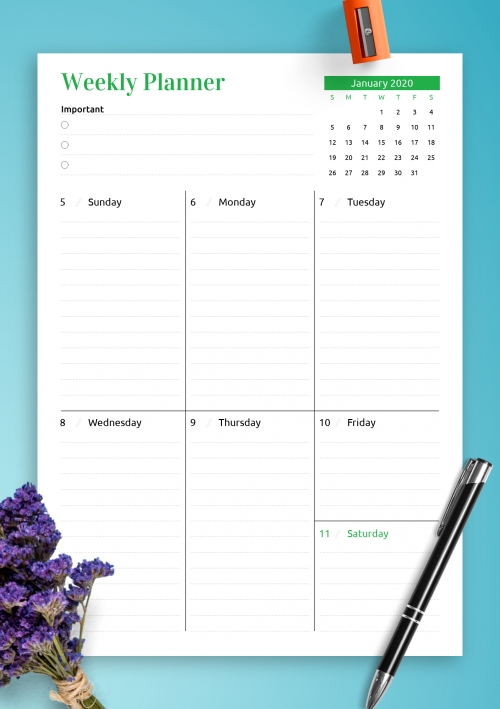Printable Weekly Planner Templates - Download Pdf within Access Weekly Scheduler
