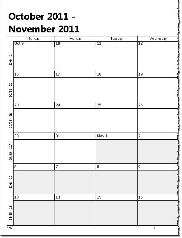 Printing A Five Week Calendar regarding Monthly Calendar Weekdays Only