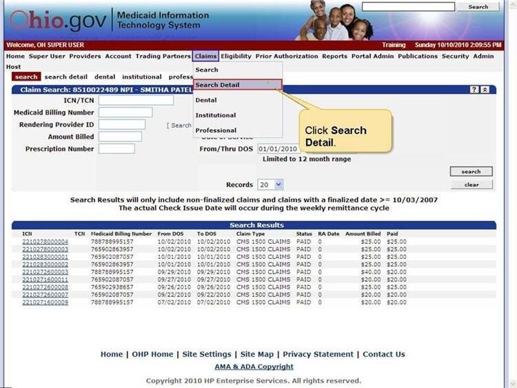 Professional Web Billing in Medicaid Julian Date Photo
