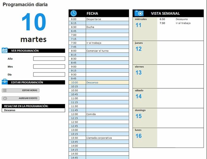 Programación Diaria De Trabajo pertaining to Bajar Agenda Para Excel Image