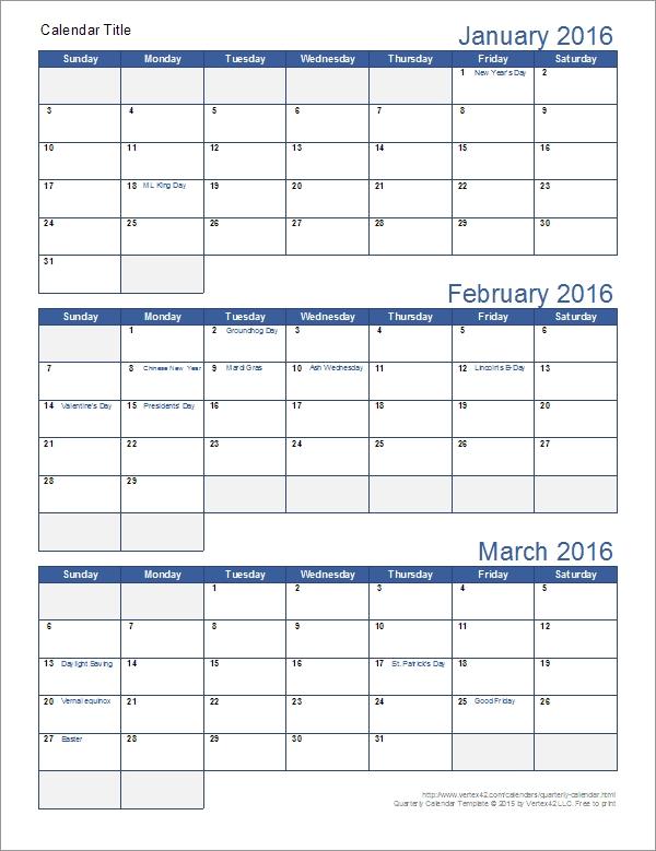 Quarterly Calendar Template inside 3 Month Calendar
