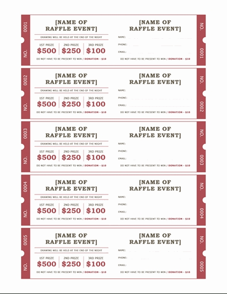 Raffle Tickets with Free Lottery Calendar Fundraiser Template