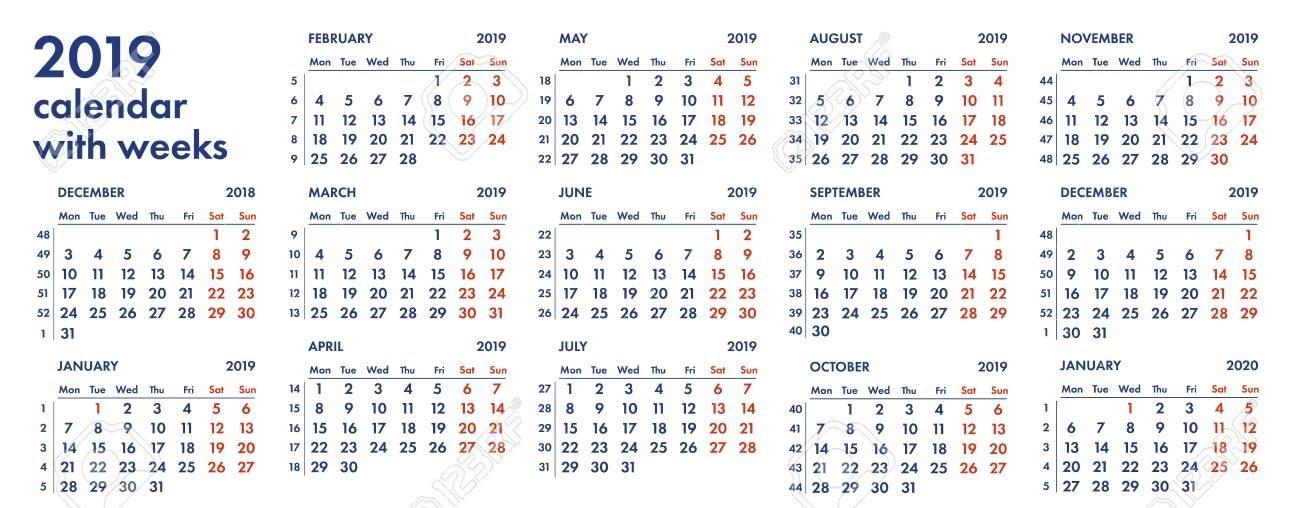 Rejilla Del Calendario 2019 Con Ilustración Del Vector De Las Semanas Y De  Los Números Aislada En El Fondo Blanco. within Numero De Semanas En El Calendario