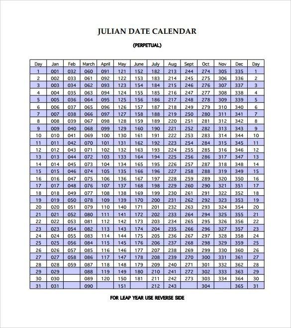 Sample Julian Calendar - 10+ Download Free Documents In Pdf inside Reverse Julian Date Calender 2020 Graphics