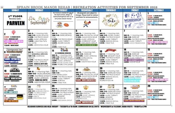 September Activities Calendars - Sprain Brook Manor throughout Calendars For Dementia Patients
