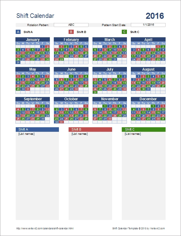 Shift Calendar Template for 24-72 Firefighter Schedule Graphics