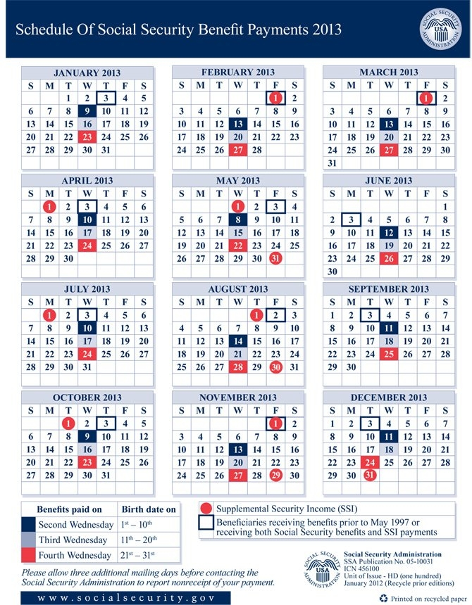Social Security Disability Benefit Payment Calendar | Social intended for Calendar For Social Security Payment