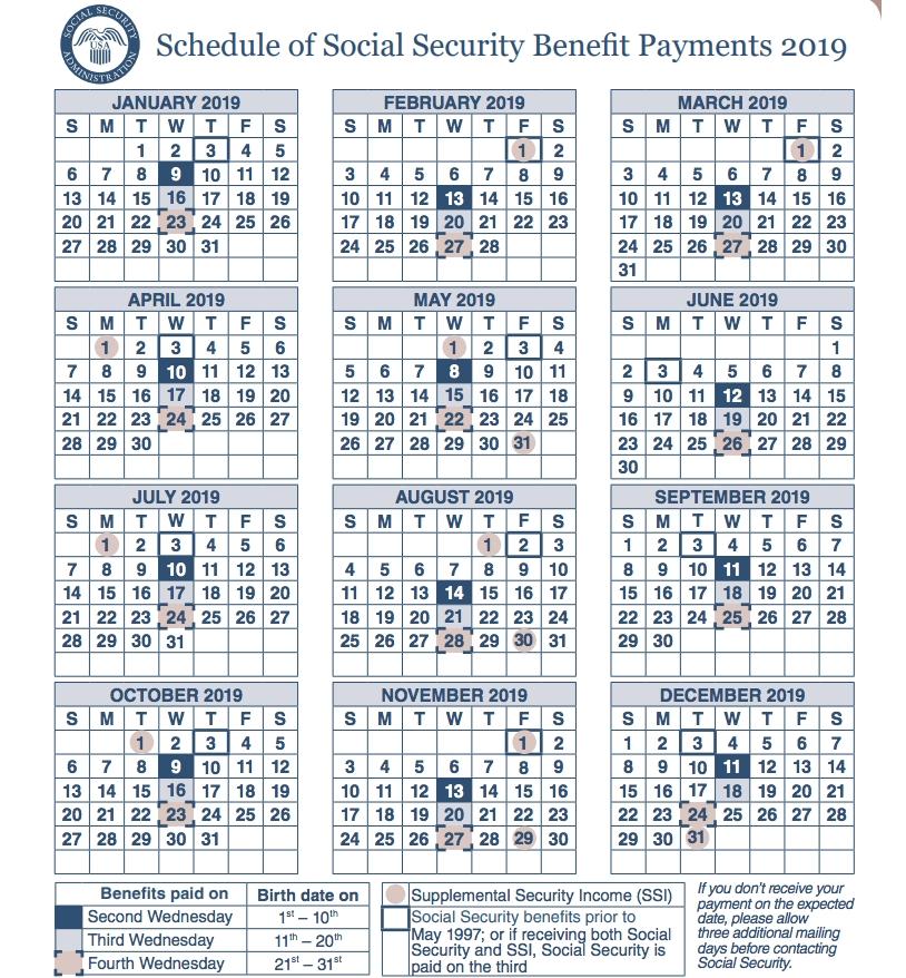 "Social Security Payment Schedule 2019"" | Payment Schedule in Soc Sec Checks Schedule"