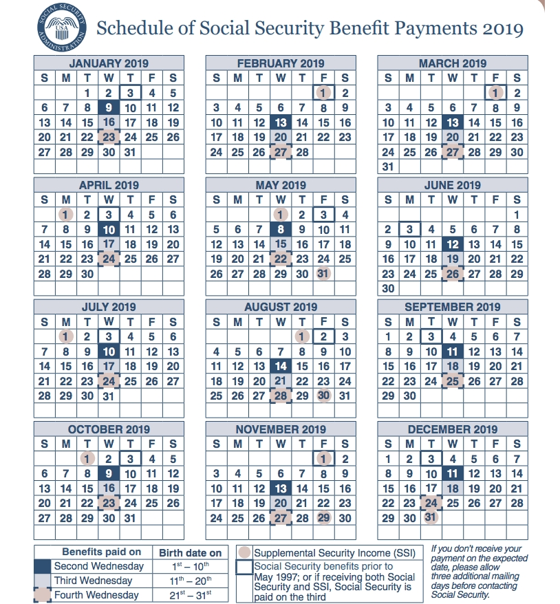 Social Security Payment Schedule 2019"