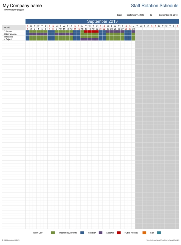 Staff Rotation Schedule | Free Template For Excel throughout Shifts Schedule Monthly Calendar Template