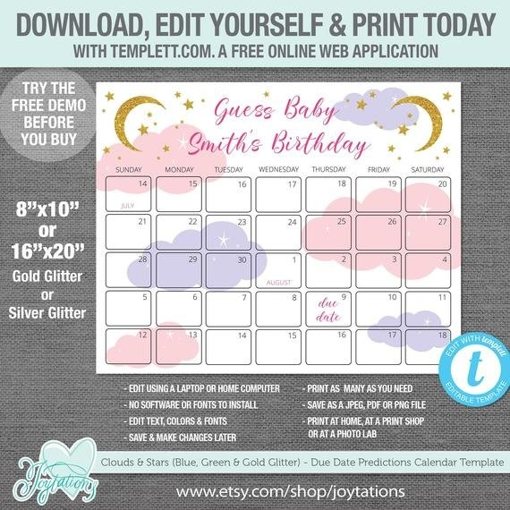 Stars And Clouds Due Date Predictions Calendar Template, Pink, Purple, Gold  Glitter, Silver Glitter, Baby Predictions, Baby Shower, Girl,25S regarding Baby Prediction Calendar Template