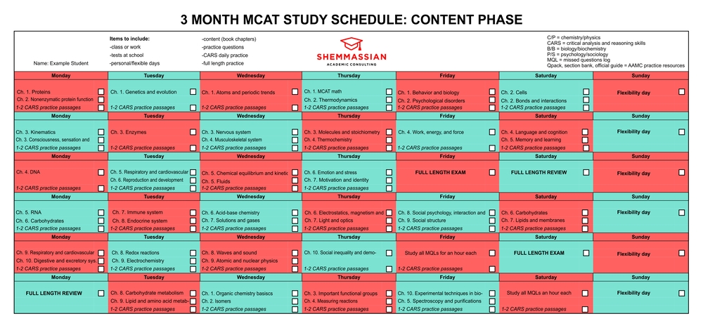The Ideal Mcat Study Schedule (1 Month, 2 Month, And 3 Month intended for Monthly Color Coded Schedule Photo