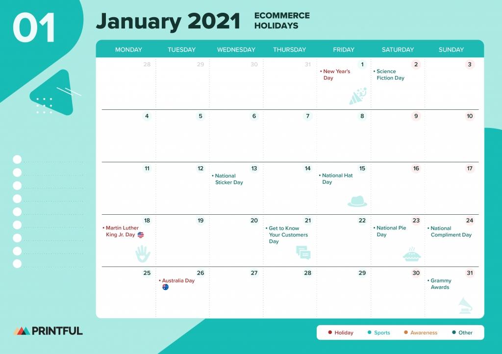 The Ultimate 2021 Ecommerce Holiday Calendar [Editable inside Pick A Calender Date And Pay That Fundraiser
