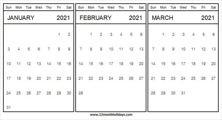 Three Month Calendar January To March 2021 | Excel | Pdf within Three Month Calendar For Word