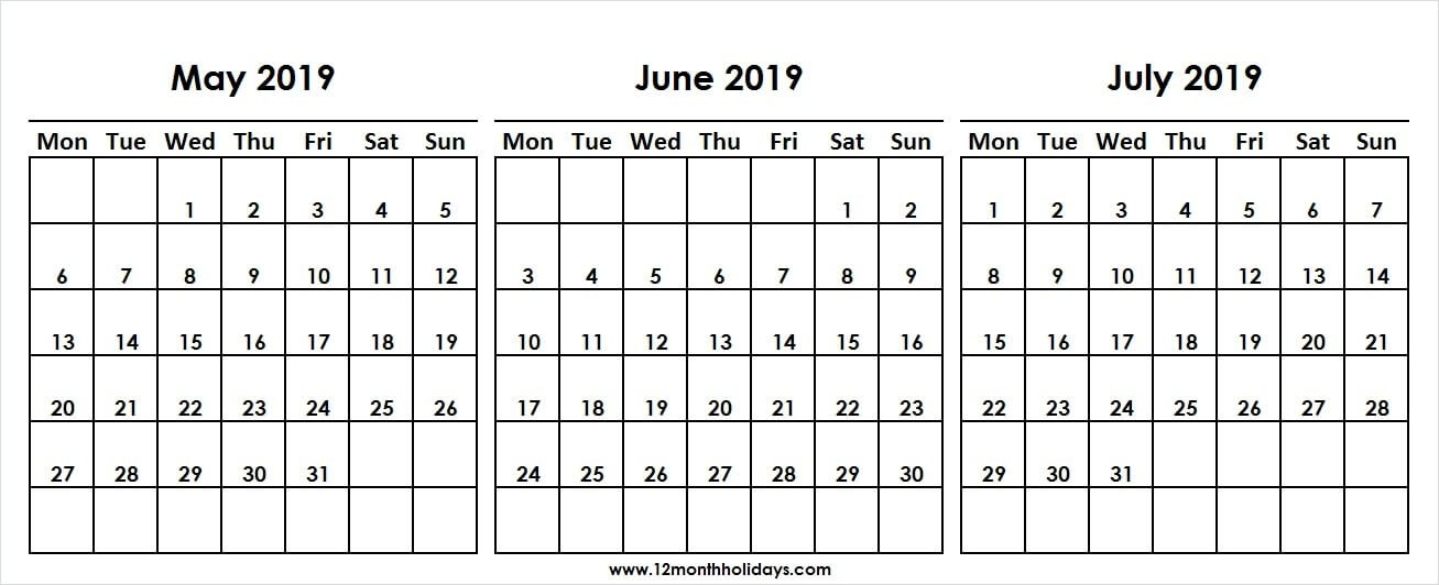 Three Month Calendar May June July 2019 Template | 2019 Calendar regarding 3 Month Calendar Photo